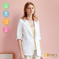 【MON'S】100%亞麻休閒西裝外套