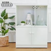 【南亞塑鋼】2.7尺二門二拉盤防水塑鋼電器櫃/收納餐櫃(白色)