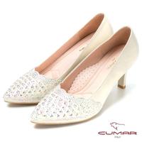 【CUMAR】幸福佳人典雅別緻水鑽裝飾晚宴鞋(金)