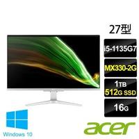 【Acer 宏碁】Aspire C27-1655 27型 AIO液晶電腦(i5-1135G7/16G/1T HDD+512G SSD/MX330-2G/W10)