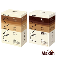 韓國孔劉咖啡 MAXIM麥心 KANU 中焙無糖拿鐵系列 原味/雙倍濃縮 (13.5g×30入/盒) 漸層包裝 kanu咖啡