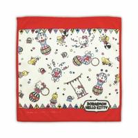 小禮堂 Hello Kitty x 哆啦A夢 純棉割絨小方巾《藍紅.馬戲團》25x25cm.毛巾.手帕