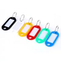 Key ป้ายกระเป๋าเดินทางพลาสติกการจำแนกการ์ด Tags Split Ring Key Chains แหวนหมายเลขชื่อสัมภาระการจัดส่งแบบสุ่...