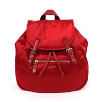 【agnes b.】agnes b. Voyage 小型緞面尼龍抽繩後背包 紅