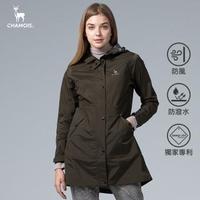 【Chamois】Damas-Tex 防水透氣修身長版風衣外套(軍綠)