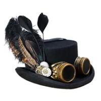 10เซนติเมตรสีดำผ้าขนสัตว์DIY Fedora Steampunkด้านบนหมวกสำหรับผู้หญิงผู้ชายอบไอน้ำพังก์เกียร์หมวกหมวกS...