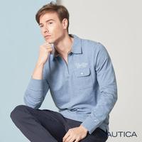 【NAUTICA】素色拼接立領長袖POLO衫(淺藍)