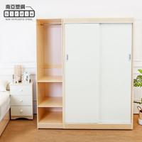 【南亞塑鋼】5.8尺拉門/推門塑鋼衣櫃組合(白橡色+白色)