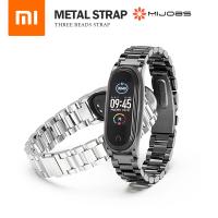 米布斯 小米手環3/4/5/6代金屬錶帶 不鏽鋼三珠錶帶 快拆蝴蝶錶扣 小米智能手環通用替換錶帶 贈錶帶調整器