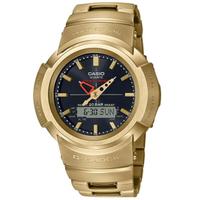 刷卡滿3千回饋5%點數 CASIO 卡西歐G-SHOCK AWM-500GD-9A 全金屬指針數位雙顯示太陽能腕錶/金44.5mm