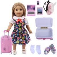 ใหม่สีชมพูตุ๊กตาเสื้อผ้ารองเท้าชุดกระเป๋าเดินทางสำหรับตุ๊กตาอเมริกัน18นิ้ว & 43ซม.เด็กทารกร...