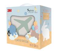 【淘氣寶寶】3M安全地墊禮盒小兔-暖石灰 (6片素色+3片動物造型-內附收邊條)(32*32*2公分)
