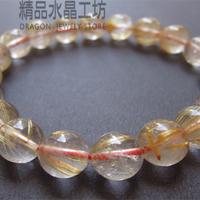 【精品水晶工坊】天然清透鈦晶手鍊(10MM)