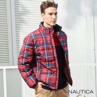 【NAUTICA】恆溫保暖科技羽絨格紋外套(紅)