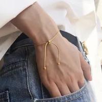 การออกแบบที่เรียบง่ายไทเทเนียม Pull-Out สร้อยข้อมือทองสีงูกำไลข้อมือสำหรับผู้ชายผู้หญิงเครื่...