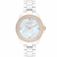 【COACH】珍貝茶花晶鑽陶瓷腕錶-32mm/白(14503662)