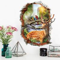 DIY無痕創意牆貼/壁貼-3D梅花鹿_XH72534 (梅花鹿 壁貼 3D壁貼 鸚鵡 鹿 )