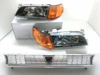 大禾自動車 日規 黑框玻璃大燈 + 黑框 / 黃 角燈 + 水箱罩 適用 TOYOTA COROLLA 93-97 AE100