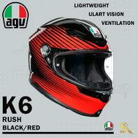 任我行騎士部品 AGV K6 極輕量化 通風 舒適 全新設計 全罩式安全帽 RUSH 黑紅 K-6