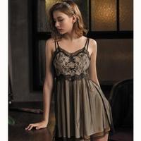 【Wacoal 華歌爾】睡衣-甜美夢幻 M-L 睡衣裙裝 一件式超細針織-NNS05791WA(黑透膚)