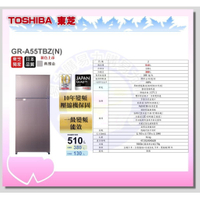 【TOSHIBA 東芝】雙門變頻冰箱 - GR-A55TBZ