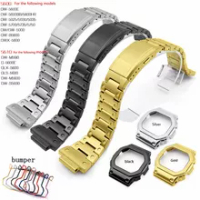 นาฬิกาอุปกรณ์เสริมสายสแตนเลส 316 สำหรับCasio DW5600 GW5000 DW-5030 GW-B5600 GW-M5610 G-5000Eกันชนพับหัวเข็มขัด