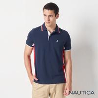 【NAUTICA】男裝 修身拼接撞色短袖POLO衫(深藍)