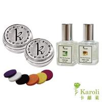 【Karoli 卡蘿萊】10ml香精2入 香味任選 +圖騰口罩香氛扣-雙色(精油口罩扣/口罩香氣/香薰精油/個人防護)