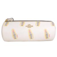 【COACH】PVC圖印圓筒筆袋化妝包(米白唇膏)