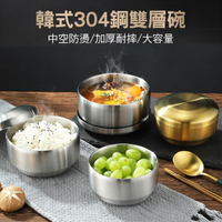 【CS22】韓式304雙層不銹鋼帶蓋飯碗(直徑10.5cm 韓國料理)