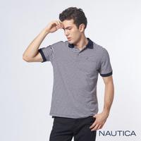 【NAUTICA】彈性棉細條紋短袖POLO衫(深藍)
