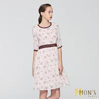 【MON'S】印花蕾絲雪紡洋裝
