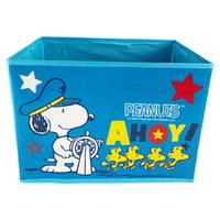 小禮堂 史努比 不織布折疊無蓋收納箱 防水收納箱 玩具箱 衣物箱 (藍 船長)