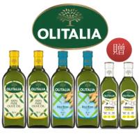 【Olitalia 奧利塔】純橄欖油1000mlx2+玄米油1000mlx2瓶(+高溫專用葵花油500mlx2瓶-禮盒組)