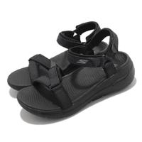【SKECHERS】涼鞋 Go Walk Arch Fit 女鞋 專利鞋墊 避震 緩衝 穩定 魔鬼氈 黑(140251BBK)