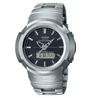 刷卡滿3千回饋5%點數 CASIO 卡西歐G-SHOCK AWM-500D-1A 全金屬指針數位雙顯示太陽能腕錶/銀44.5mm