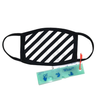 【OFF-WHITE】品牌 Diag logo 斜條紋布面口罩(黑)