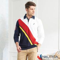 【NAUTICA】斜身撞色拼接長袖POLO衫(藍白)