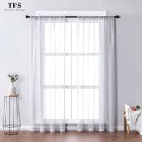 TPS สีเทาผ้าม่านหน้าต่าง Tulle สำหรับห้องนั่งเล่นห้องนอนห้องครัวสำเร็จรูปหน้าต่างตกแต่งบ้านแผ...