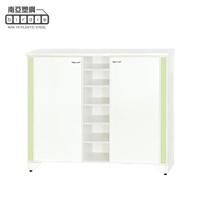 【南亞塑鋼】4.2尺直飾造型二開門中開放防水塑鋼鞋櫃(白色+粉綠色)
