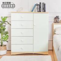【南亞塑鋼】3.3尺五抽單門塑鋼斗櫃/收納櫃/置物櫃(白橡色+白色)