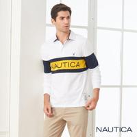 【NAUTICA】品牌LOGO層次拼接長袖POLO衫(白色)