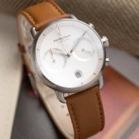 【Nordgreen】ND手錶 Pioneer 先鋒 42mm 月光銀殼×白面 復古棕純素皮革錶帶(PI42SIVEBRXX)