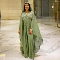Afrika Wanita Dashiki Maroko Kaftan Dubai Abaya Mutiara Berlian Hoodie Dress Muslim Jilbab Eid Mubarak Kaftan Afrika Pakaian