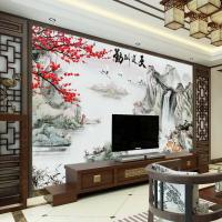 電視背景墻壁紙8d中式客廳水墨山水畫墻紙大氣影視墻布中國風壁畫