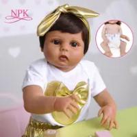 NPK 55CM Full Body Silikon Lembut Bebe Boneka Reborn Bayi Perempuan Di Tan Coklat Kulit Manusia Hidup Real Touch Tahan Air boneka