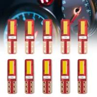 10 Pcs T5 LED 2SMD W3W W1.2W หลอดไฟไฟแสดงสถานะรถยนต์แผงหน้าปัดเครื่องวัดความดันอัตโนมัติรถจักรยานยนต์12V สี...