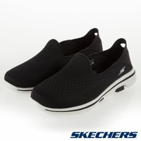 SKECHERS GO WALK 5 女鞋 休閒 健走 避震 網布 懶人鞋 後踩設計 黑【運動世界】15927BKW