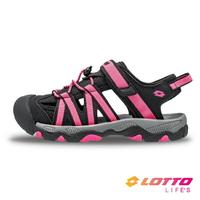 LOTTO樂得-義大利第一品牌 童款輕量護趾涼鞋 [LT1AKS3323] 黑桃【巷子屋】