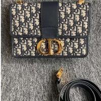 法國專櫃正品 DIOR 蒙田包 30 Montaigne 藍色 Dior Oblique 緹花帆布翻蓋式包款+預購